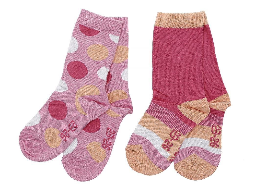 Dětské ponožky Melton Dots Stripes 2 páry – Soft Cerise - Skibi Kids b471dd2623