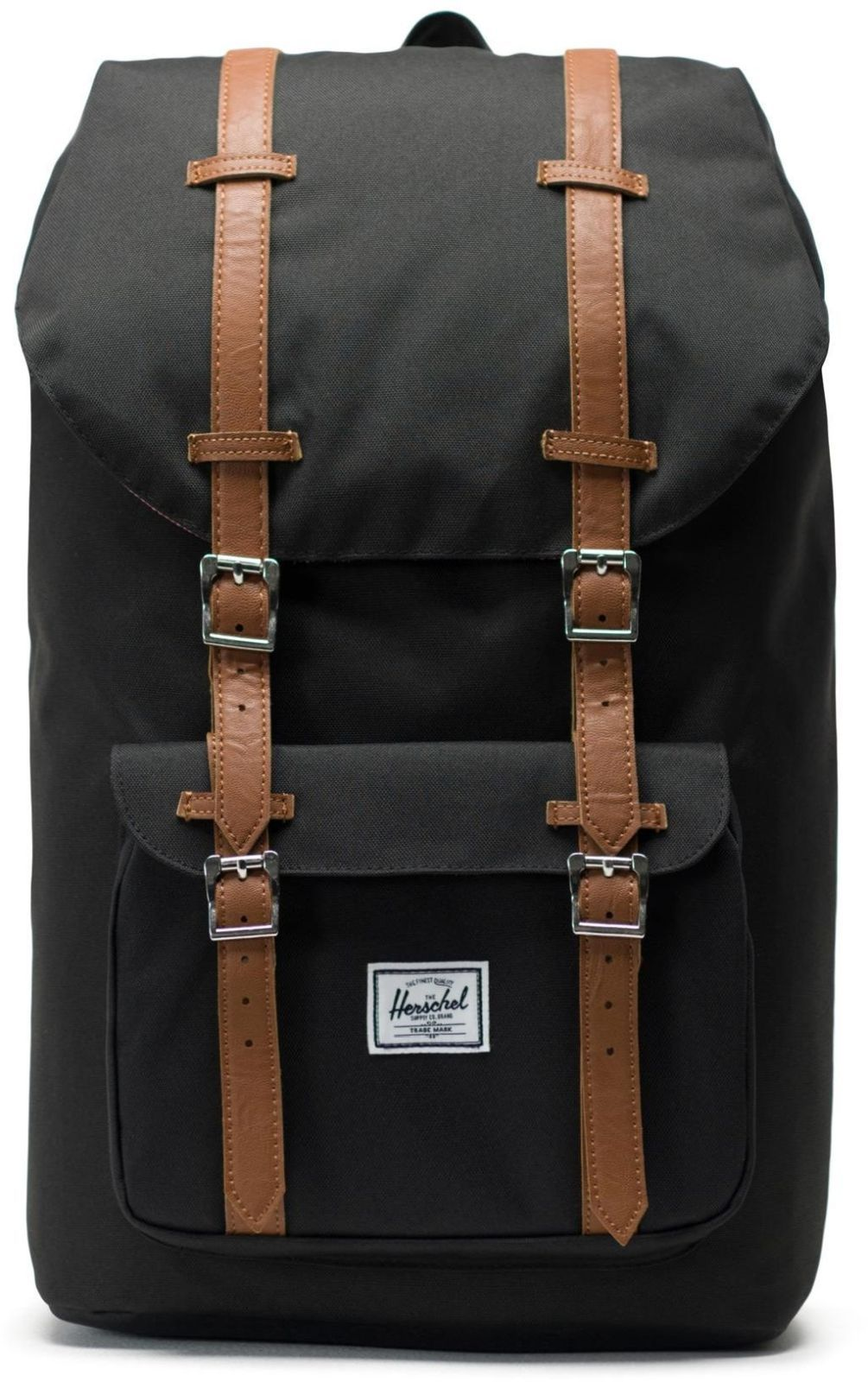 153e79fca2 Batoh Herschel Little America - black tan synthetic leather - Skibi Kids