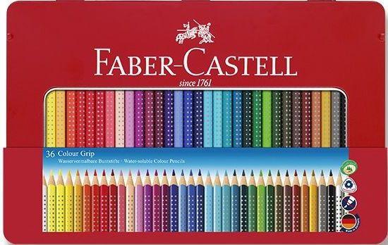 Faber-Castell Pastelky trojboké GRIP,rozmyvatelné 36 ks v plechu