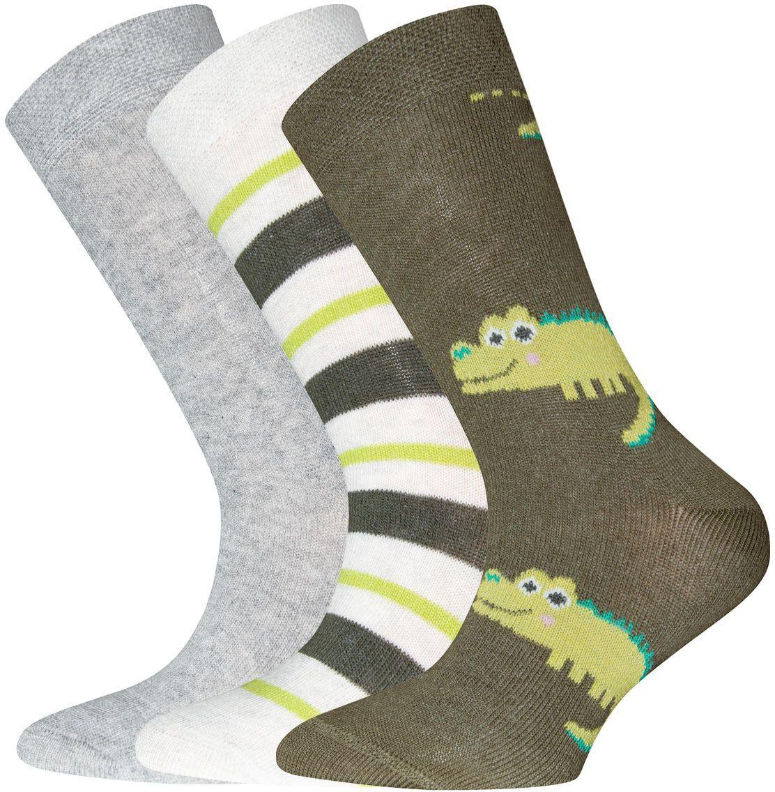 Levně Ewers Socken 3er Pack Krokodil/Ringel/uni-002 27-30