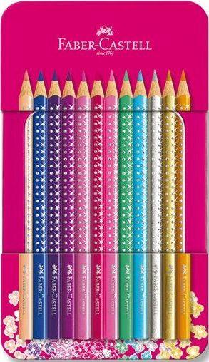 Faber-Castell Pastelky Sparkle, plechová dóza 12 ks
