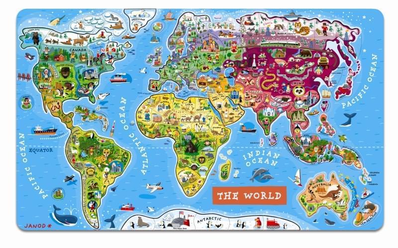Magneticka Mapa Sveta Janod Skibi Kids