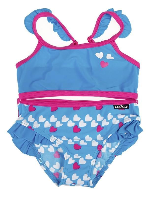 Dívčí dvoudílné bikiny Elemar - aqua hearts - Skibi Kids f9a115c54b