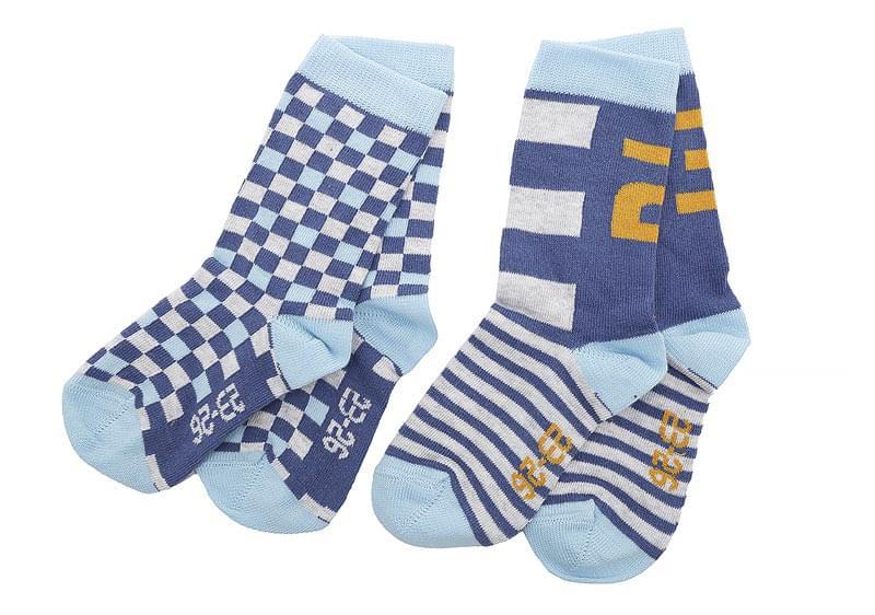 Dětské ponožky Melton Stripes Squares 2 páry – Grey Blue - Skibi Kids 79990061eb