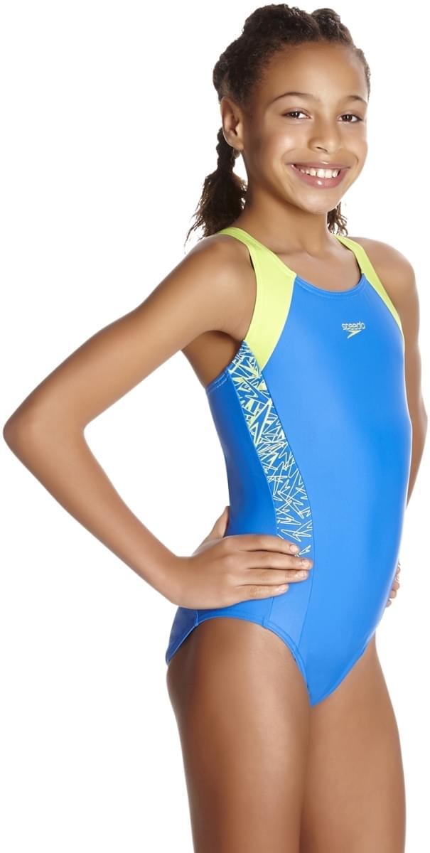 4d555c8fb ... Dívčí jednodílné plavky Speedo Boom Splice Muscleback - bondi/apple  green ...