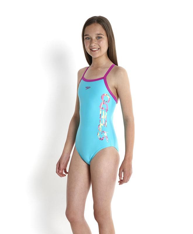Dívčí jednodílné plavky Speedo Thinstrap - aqua - Skibi Kids 82e43195f5
