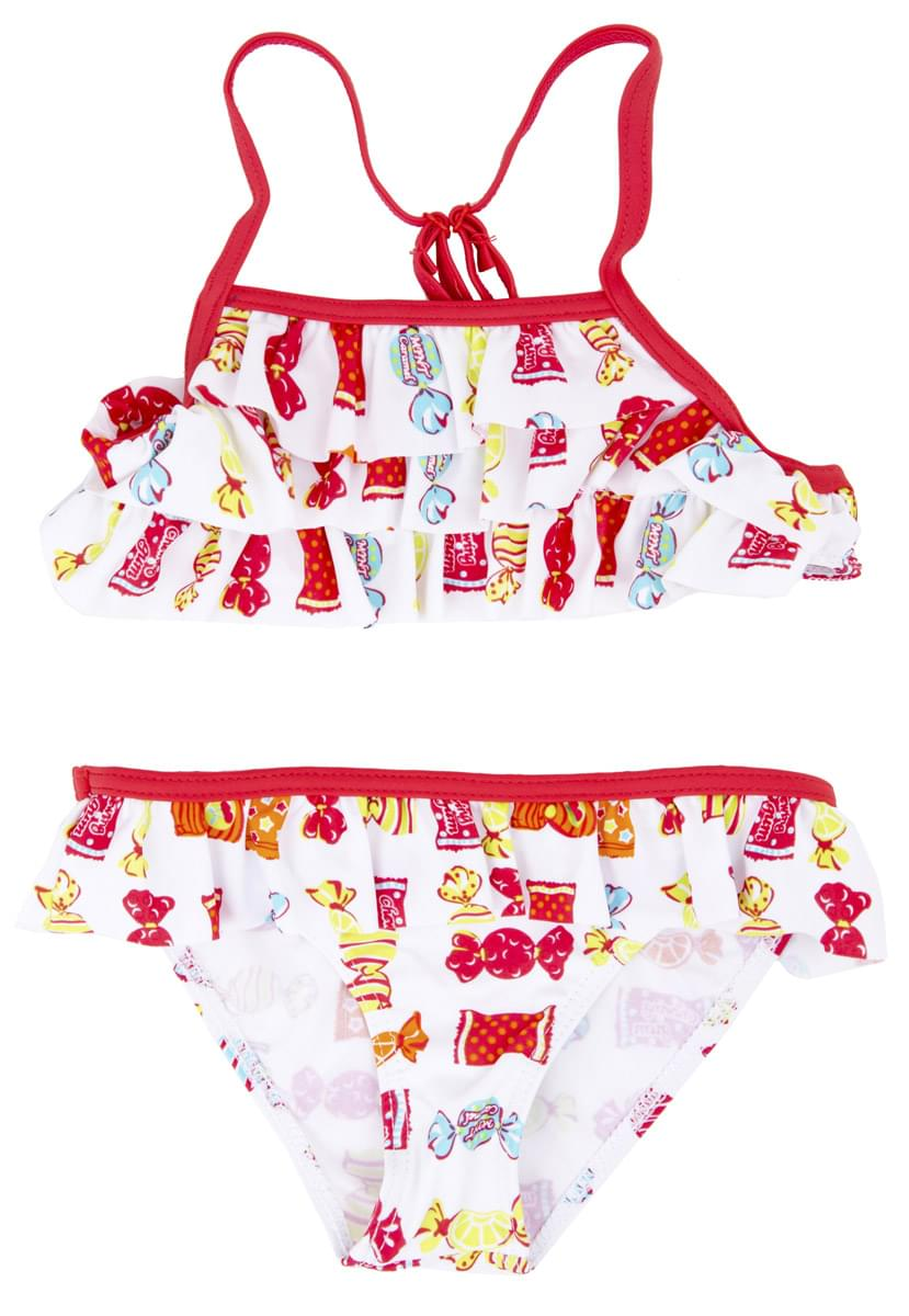 Dívčí třídílné plavky s plaveckou sukní Losan - white coral - Skibi Kids 3c86111839