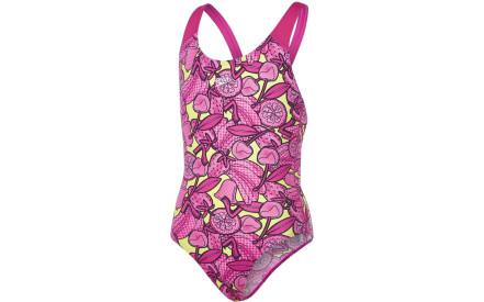 Dívčí jednodílné plavky Speedo Comet Crush Allover Splashback - electric  pink lime punch pink 4792a31f25