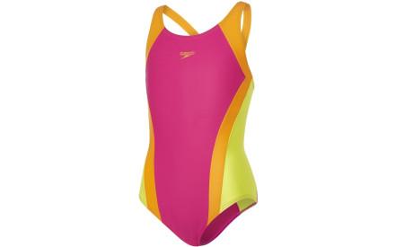 Dívčí jednodílné plavky Speedo Contrast Panel Splashback - electric  pink jaffa lime punch 869acfb3e2