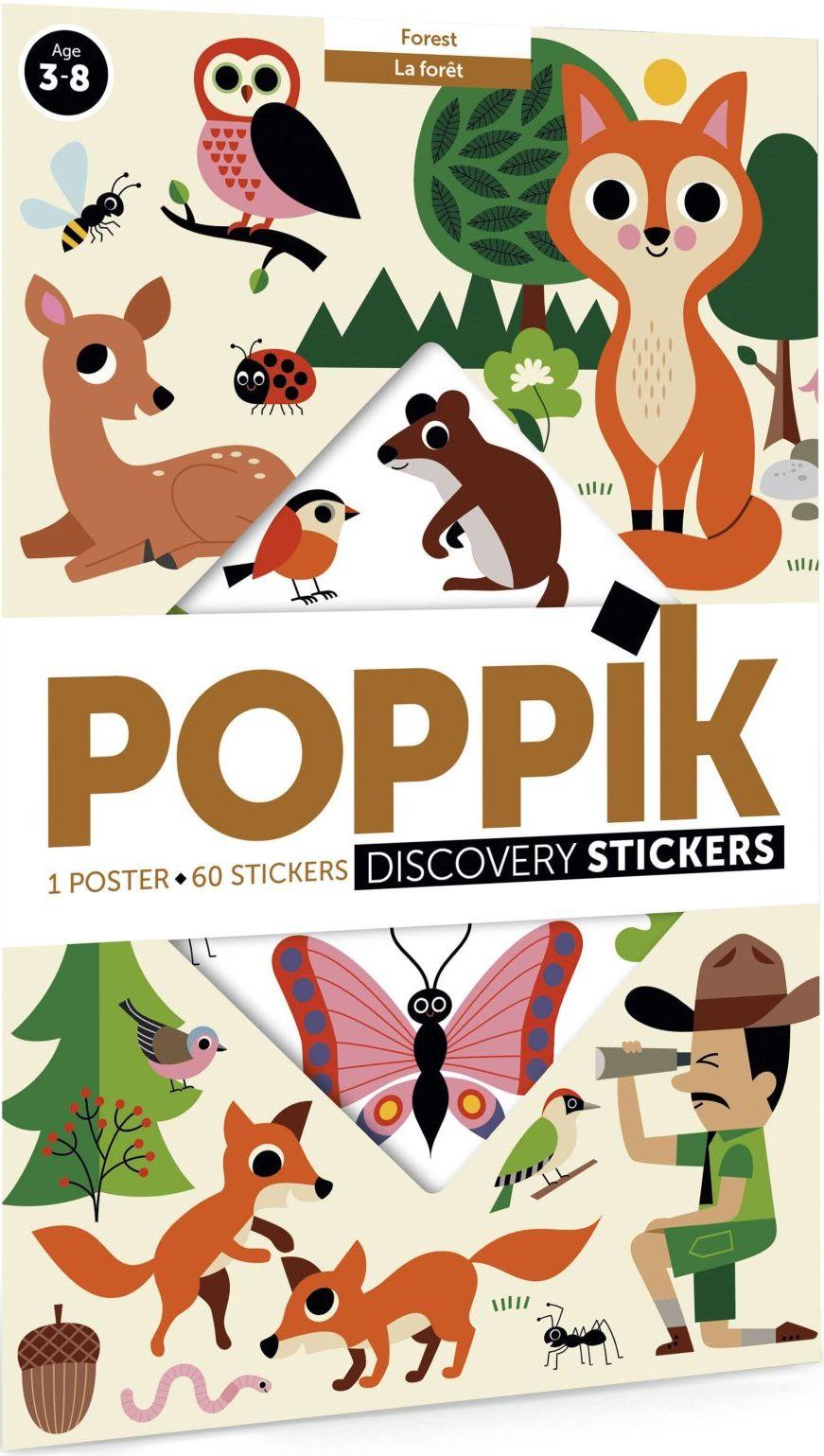 Levně Poppik Lesní zvířata-vzdělávací samolepkový plakát