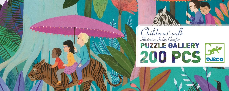 Levně Djeco Puzzle Gallery - Procházka džunglí - 200 dílků